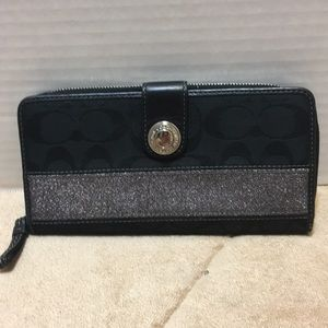 Coach Black and Silver Leather and Canvas Wallet